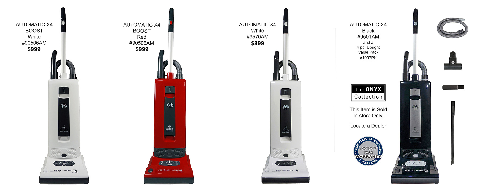 9-Foot Hose and Parquet Brush Sebo 1991AM Automatic X 3-Piece Vacuum Attachment Set with Extension Wand